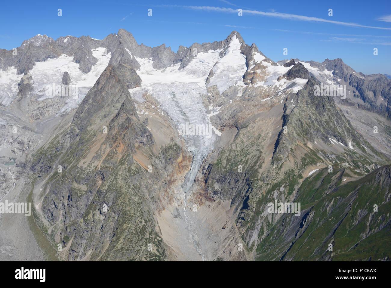 AIGUILLE DE TRIOLET (3870m) and MONT DOLENT (3820m) (aerial view). Val Ferret, Courmayeur, Aosta Valley, Italy. - Stock Image