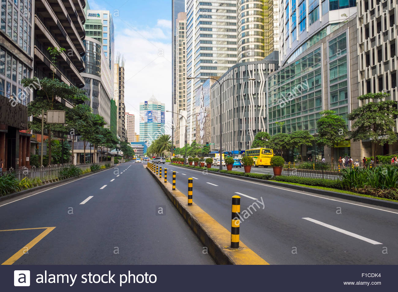 Ayala Avenue in Makati City financial district, Metro Manila, National Capitol Region, Philippines - Stock Image
