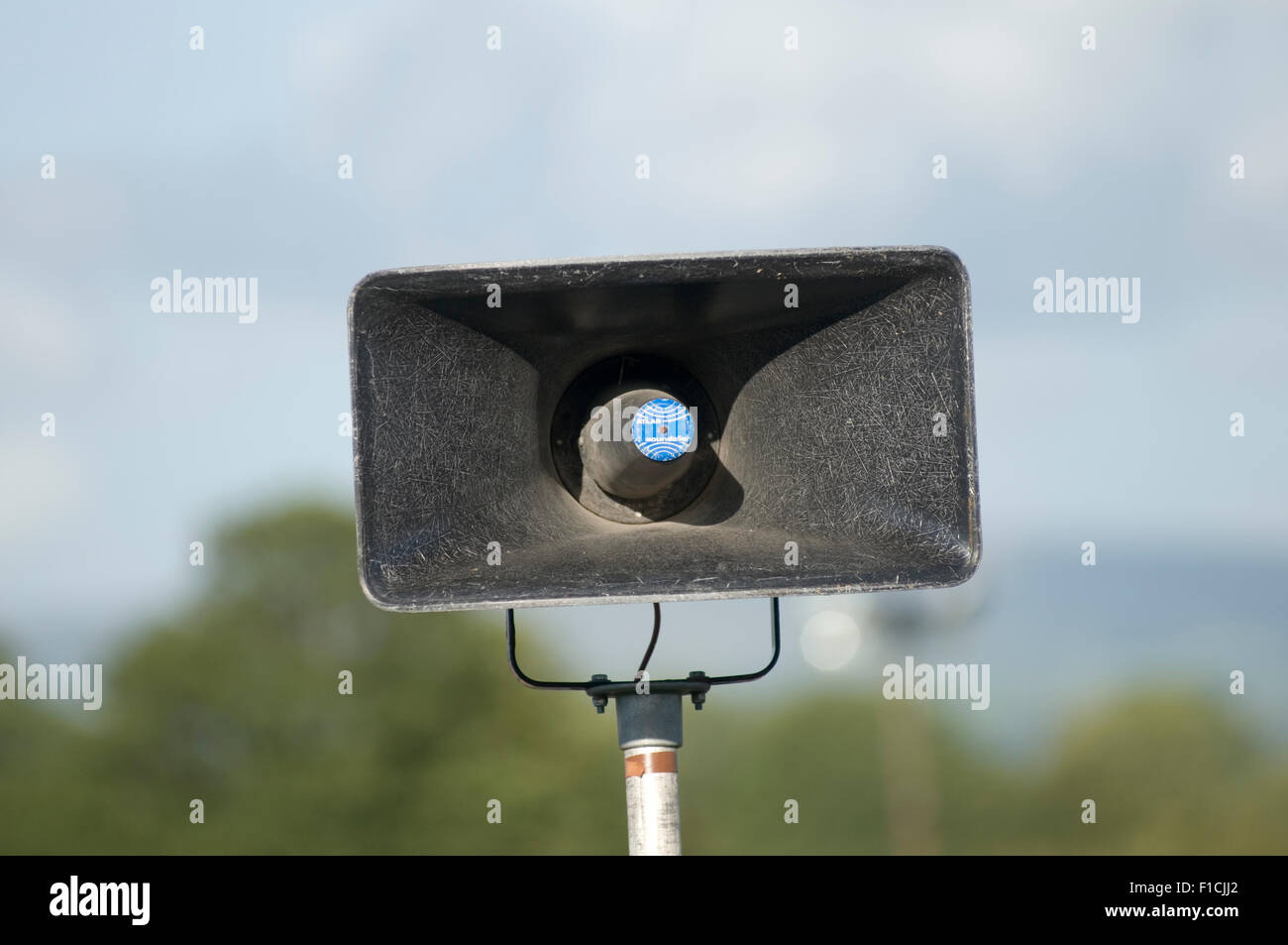 pa horn horns speaker speakers public address system voice event sound speakers announcer announcement announcements - Stock Image