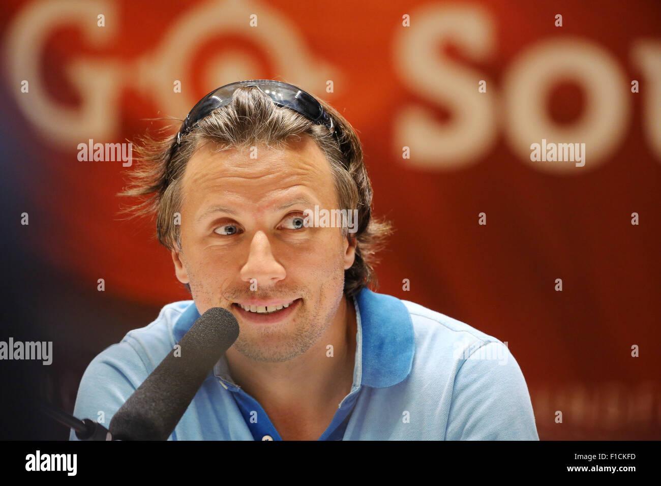 Leipzig, Germany. 1st Sep, 2015. MDR head conductor Kristjan Jaervi speaking at a press conference in Leipzig, Germany, - Stock Image