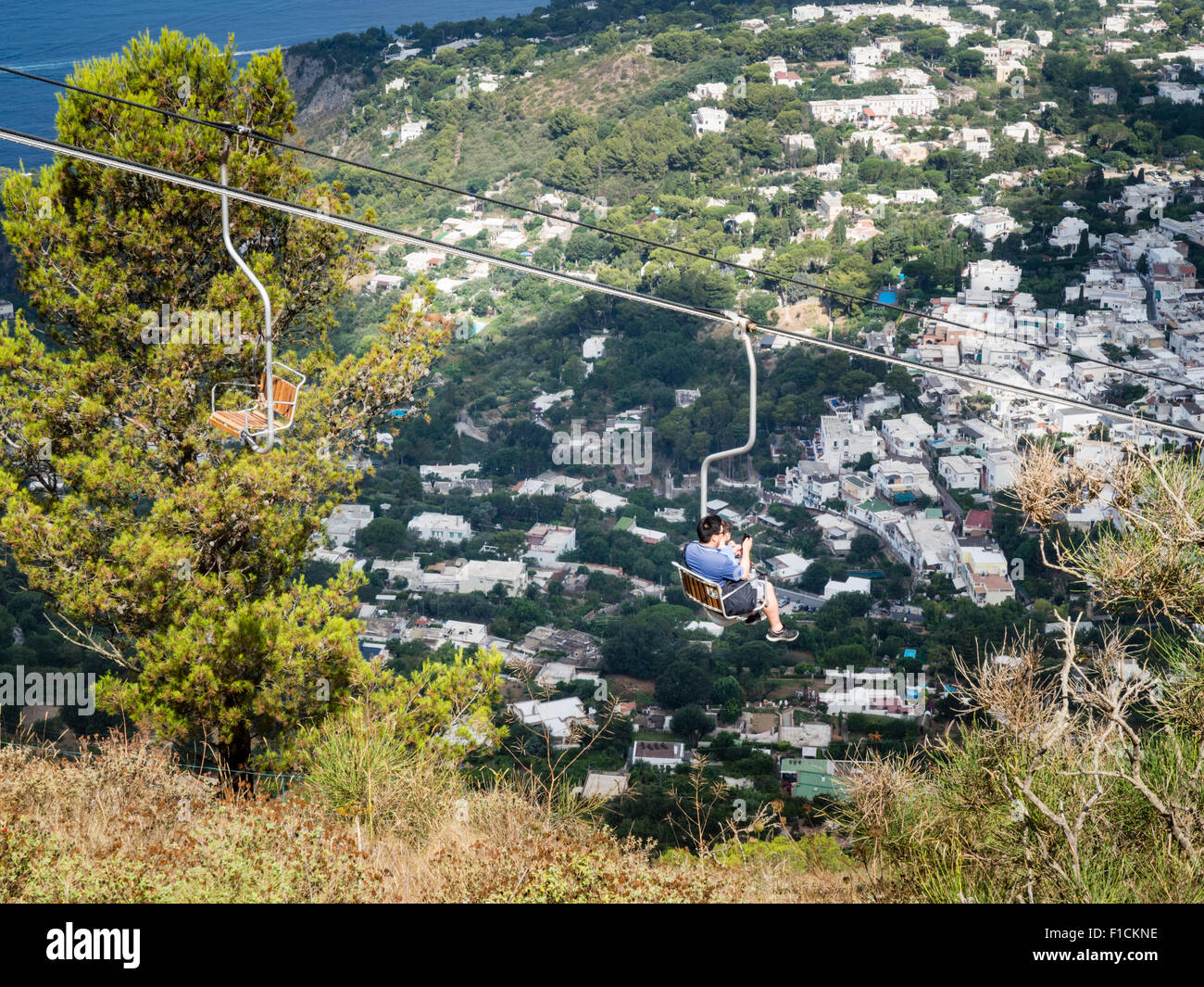 the chair lift in between ana capri and mount solaro in capri italy