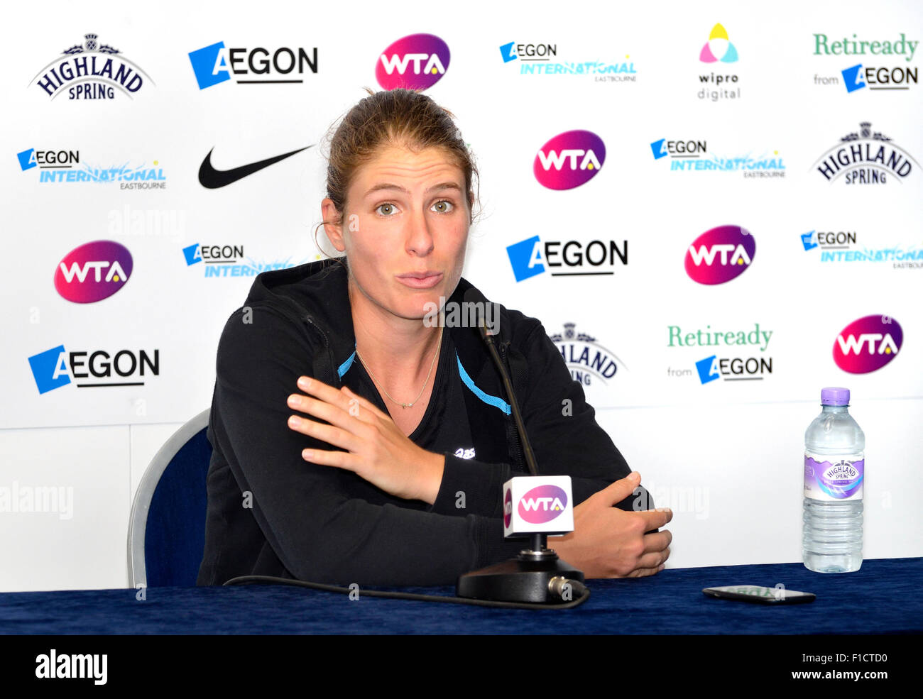 Johanna Konta (GB) in a press conference at the Aegon International, Eastbourne, 24 June 2015. (Accredited photographer) - Stock Image
