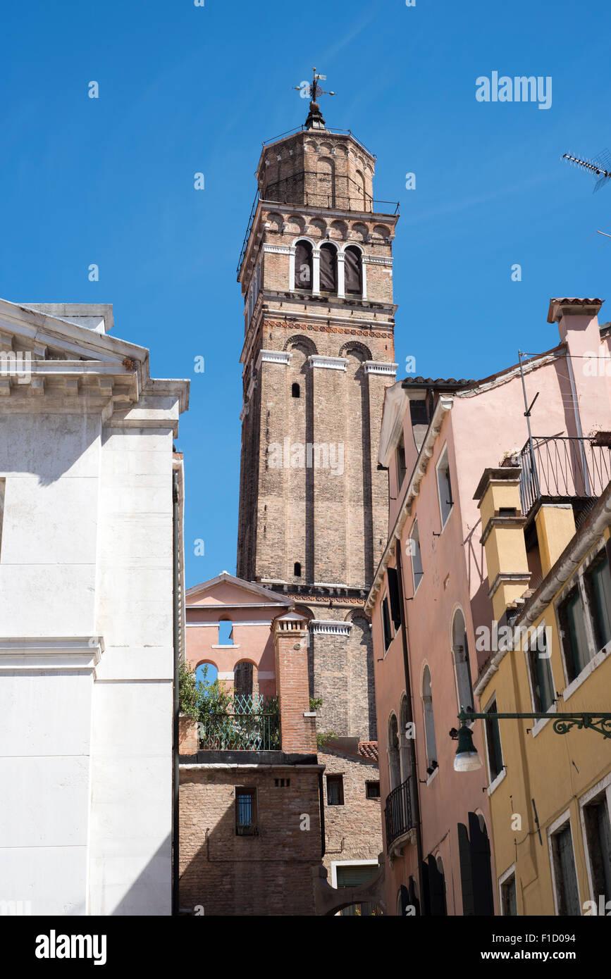 Campo e Chiesa di San Maurizio Venice, Italy, leaning tower Stock Photo