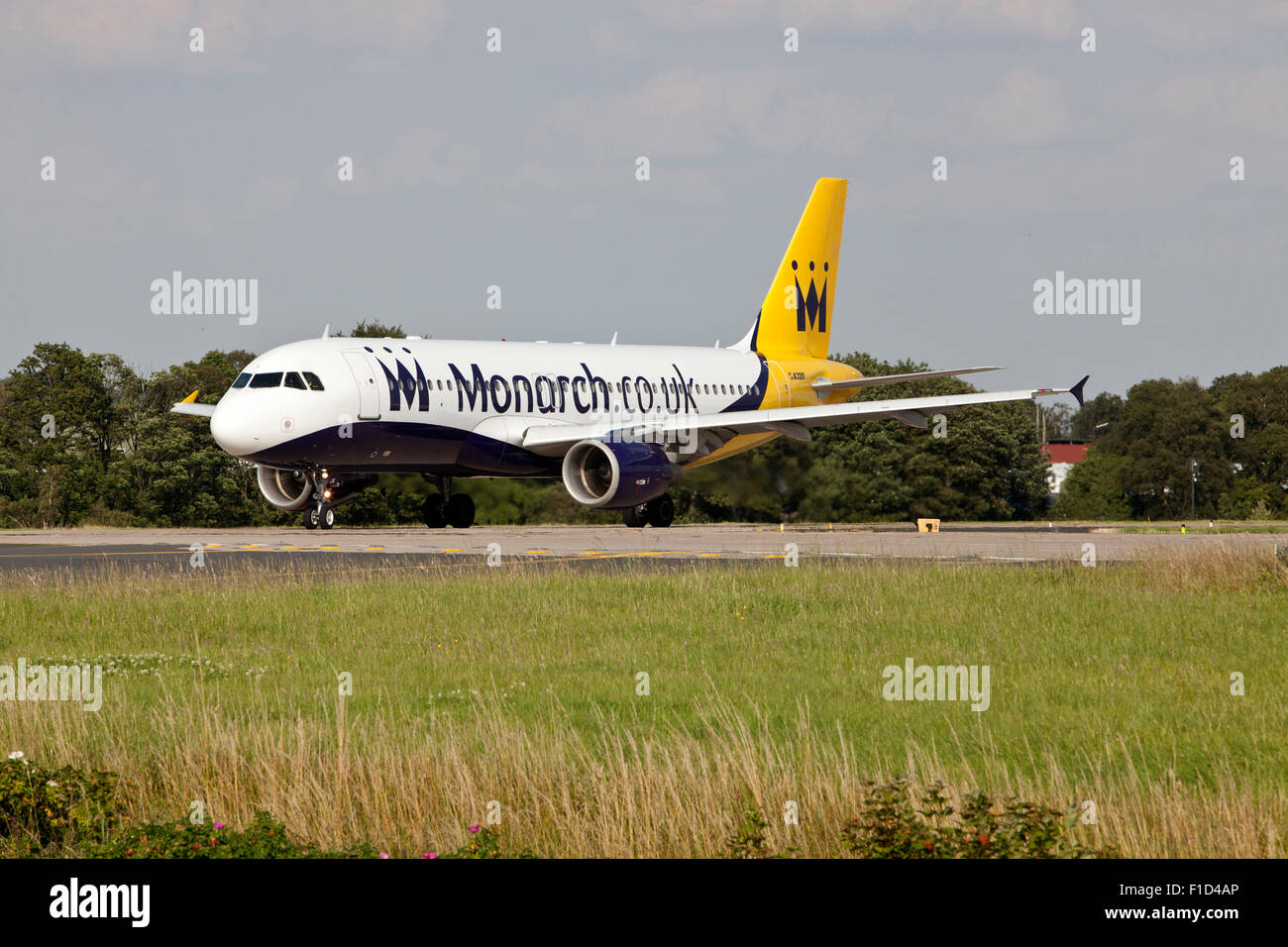 Airbus A320-200 Aeroplane owned by Monarch at Leeds Bradford Airport. - Stock Image