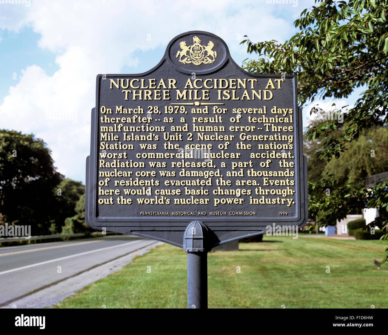 Sign near the Three Mile Island nuclear power station, Pennsylvania, USA, commemorating the 1979 nuclear accident. - Stock Image