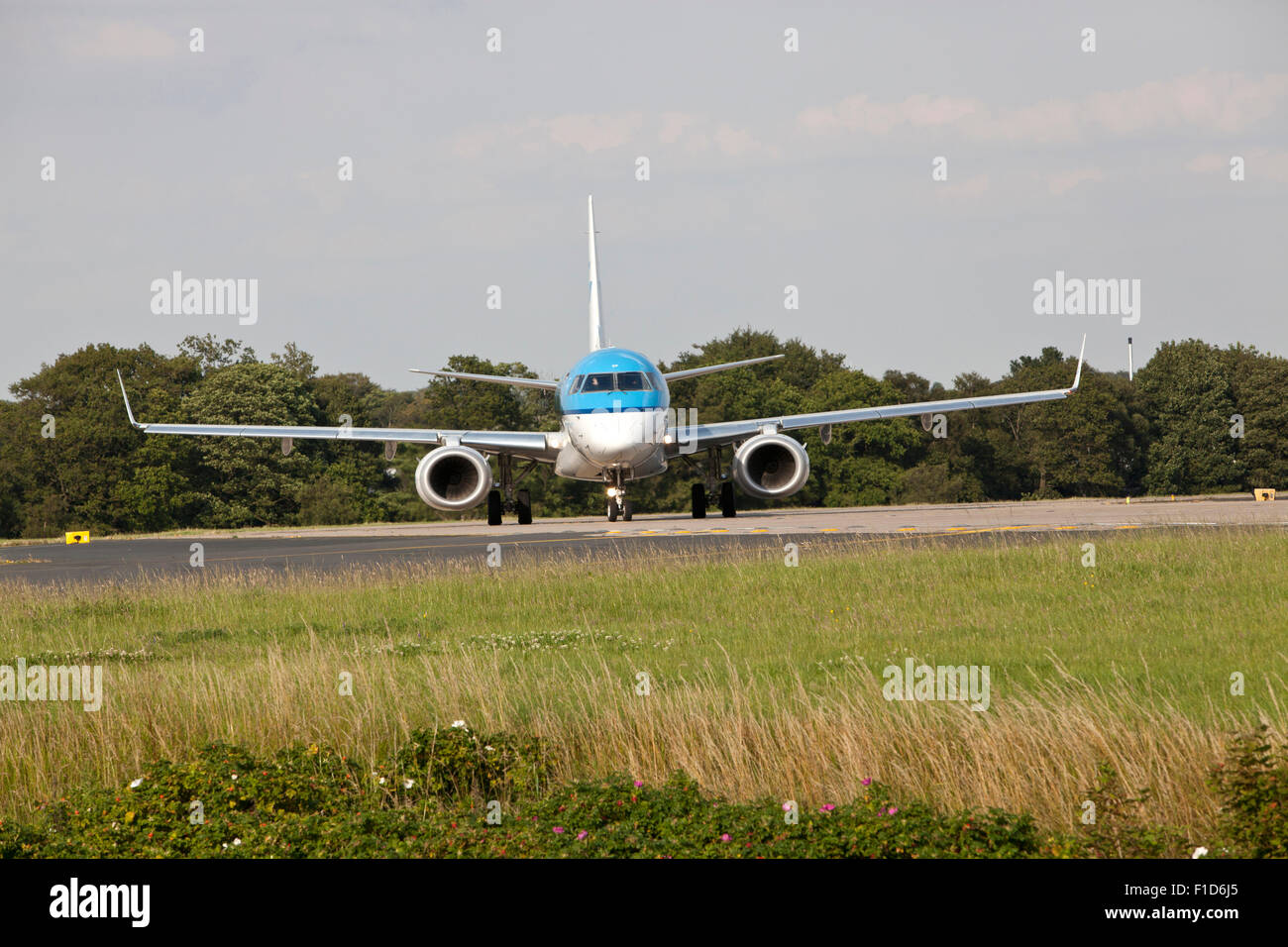 KLM plane at Leeds Bradford Airport. - Embraer - Stock Image