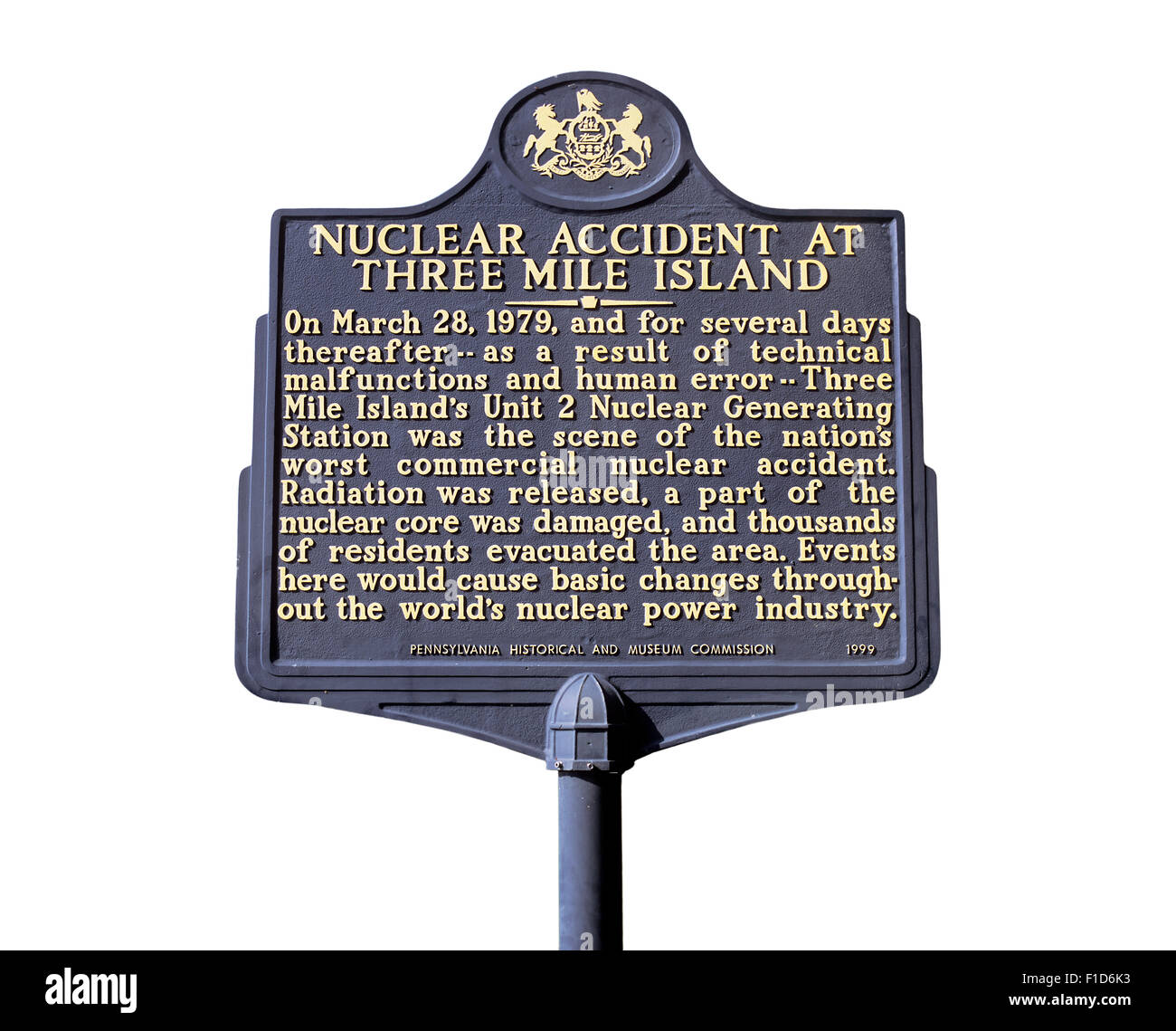 Sign near Three Mile Island nuclear power station, Pennsylvania, USA, commemorating the 1979 nuclear accident. - Stock Image