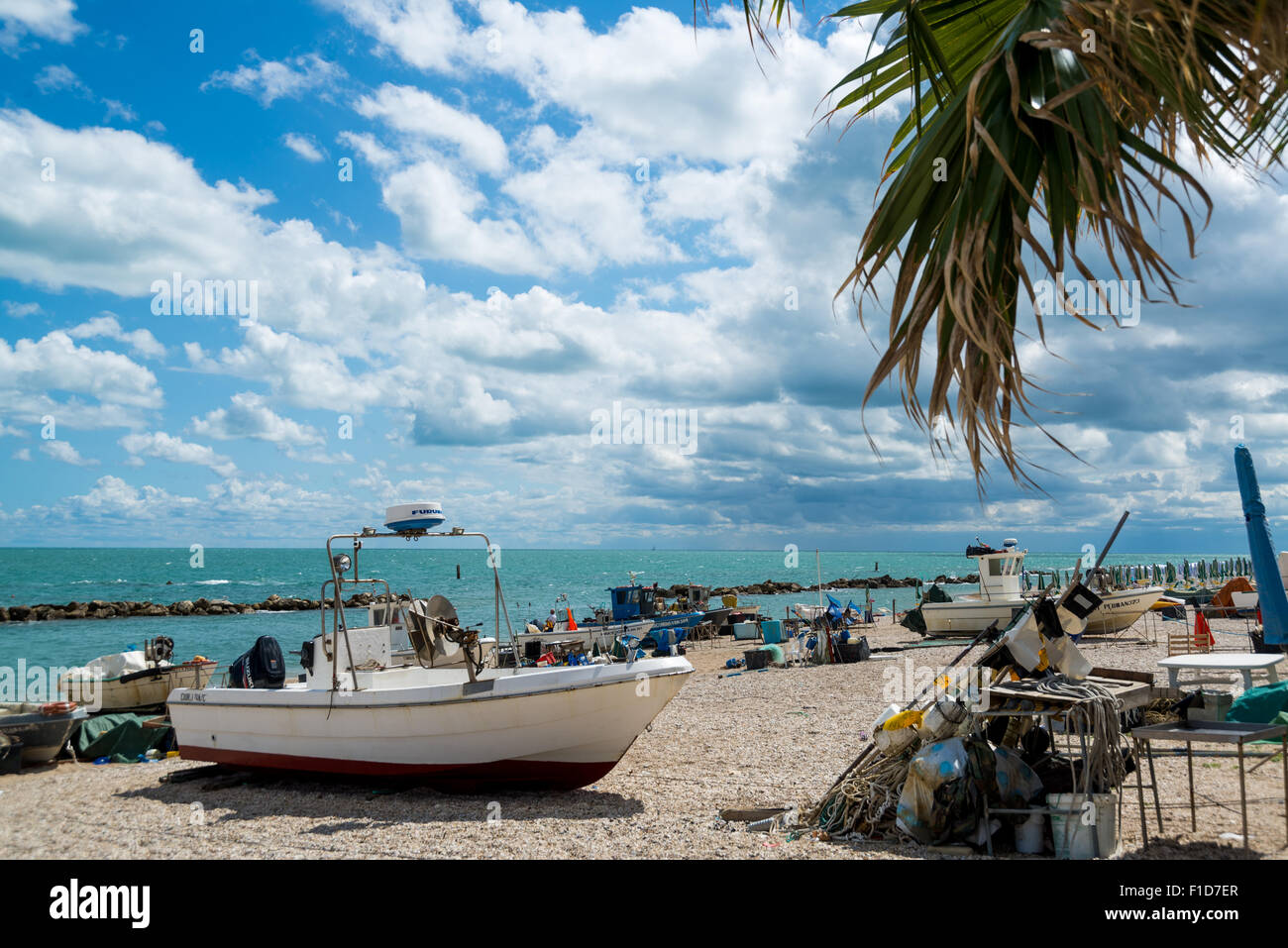 Sailor Ships in Numana, Marches, Italy - Stock Image
