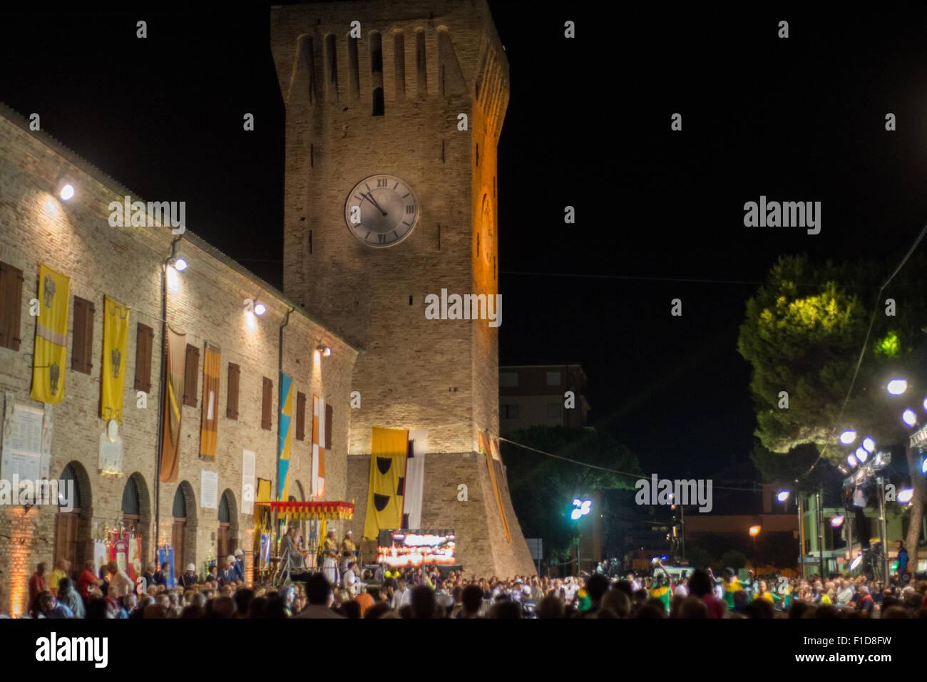 Medieval 'palio' feast at the castle in Porto Recanati, Marches, Italy. - Stock Image