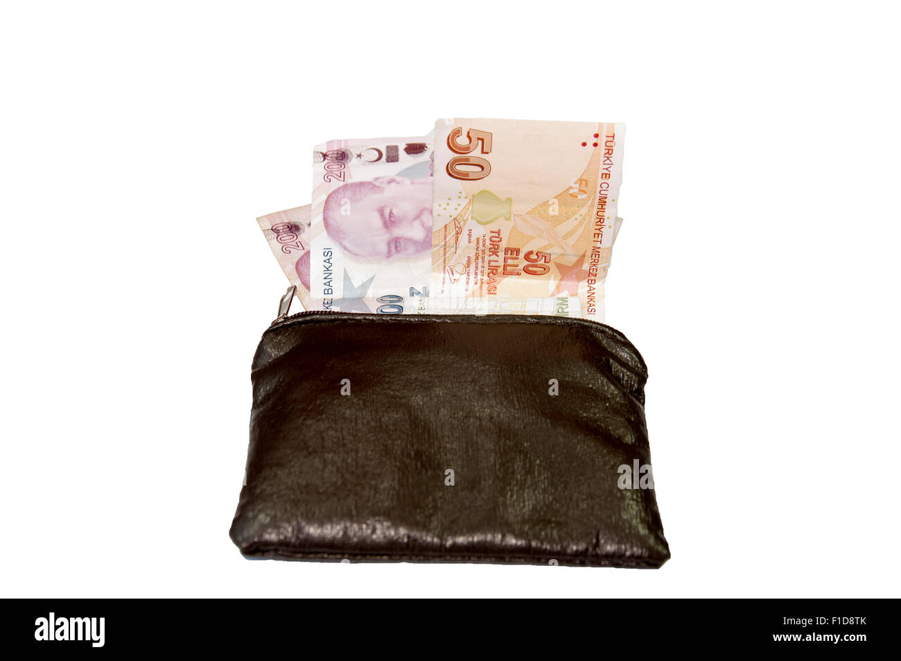 Wallet with Turkish lira on the white background - Stock Image