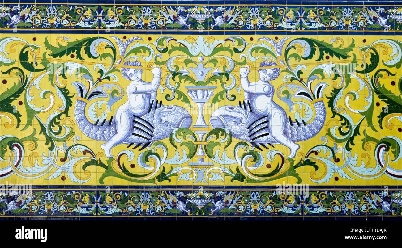 Decorative tiles or azulejos Sanlucar de Barrameda Andalusia Spain Stock Photo