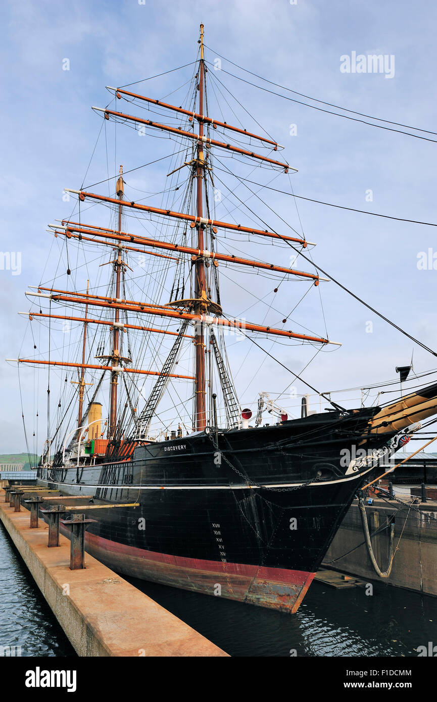 RRS Discovery famous by Robert Falcon Scott who explored Antarctica is now a museum at Discovery Point, Dundee, - Stock Image