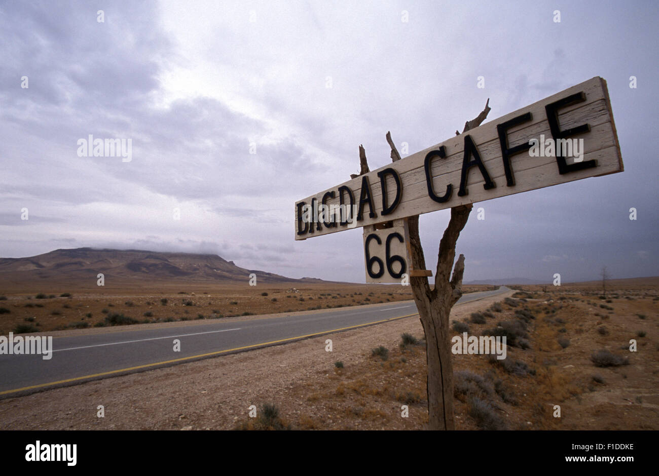 Sign of Bagdag Cafe 66 in the motorway to Irak near Palmyra - Stock Image
