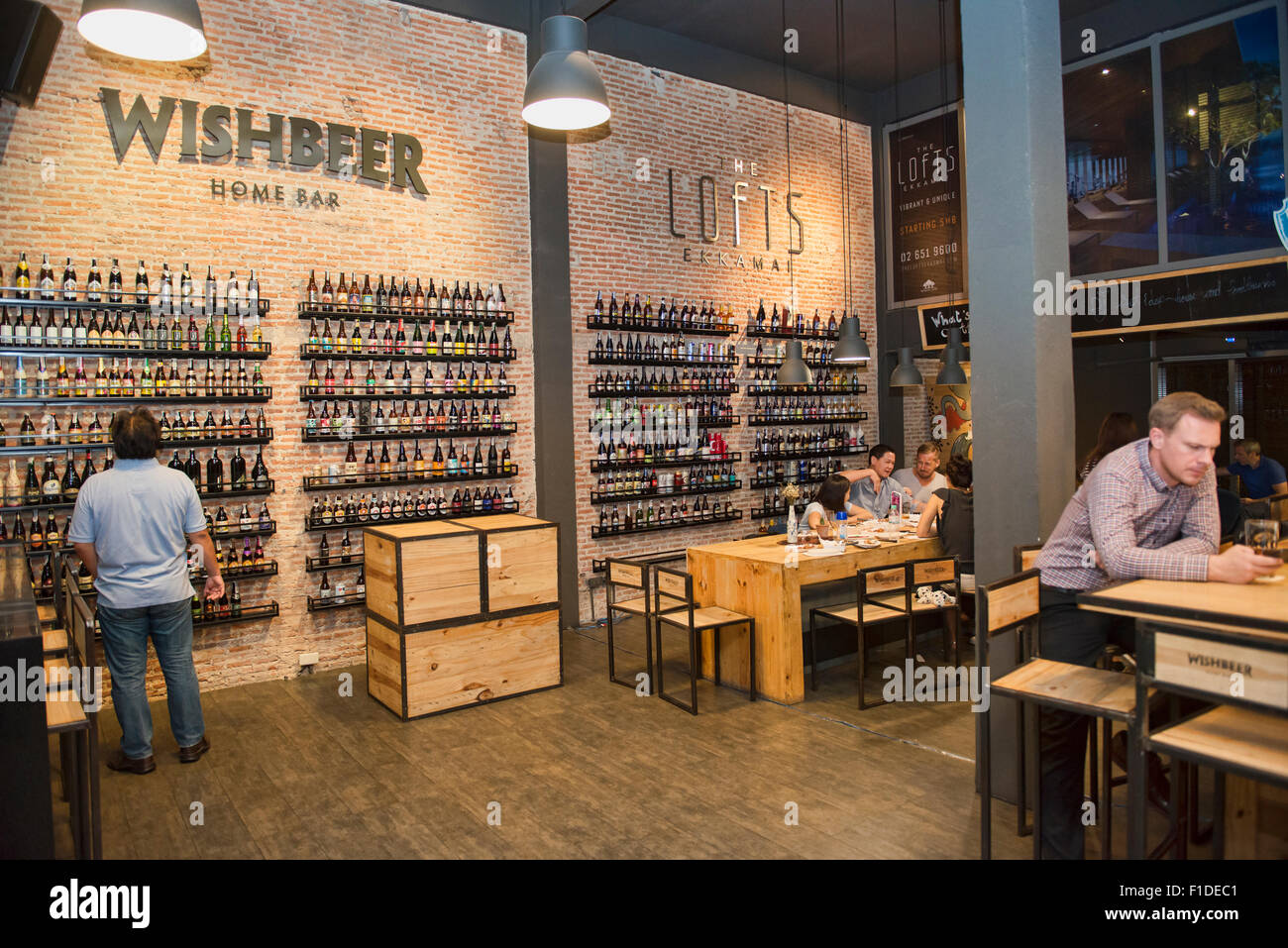 Enjoying craft beer, Bangkok, Thailand - Stock Image