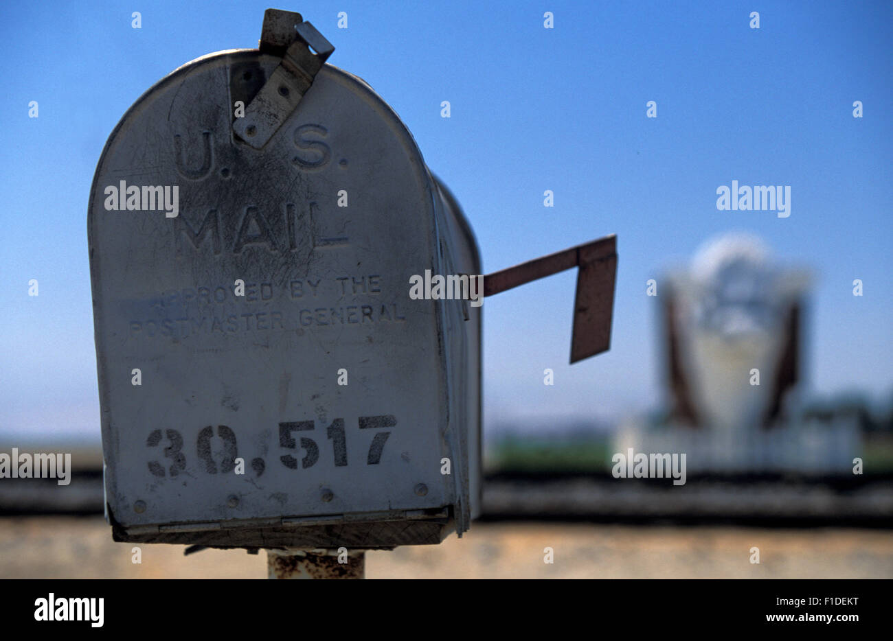 Mailbox letter outside a Cattle ranch in California - Stock Image