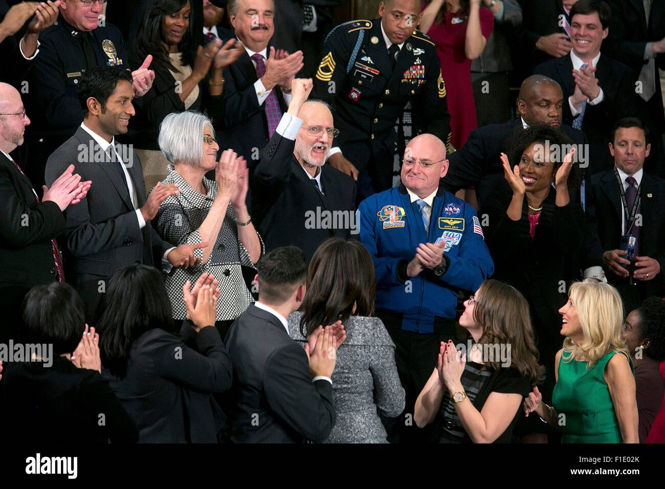 Alan Gross, who was recently released from prison in Cuba, pumps his fist in the air after being mentioned by President - Stock Image
