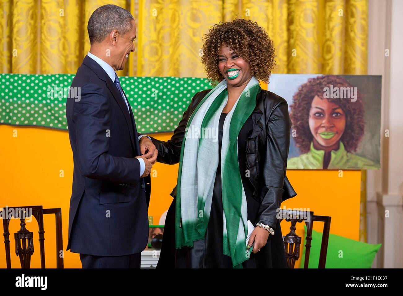U.S. President Barack Obama participates in a live interview with YouTube content creator GloZell Green in the East - Stock Image