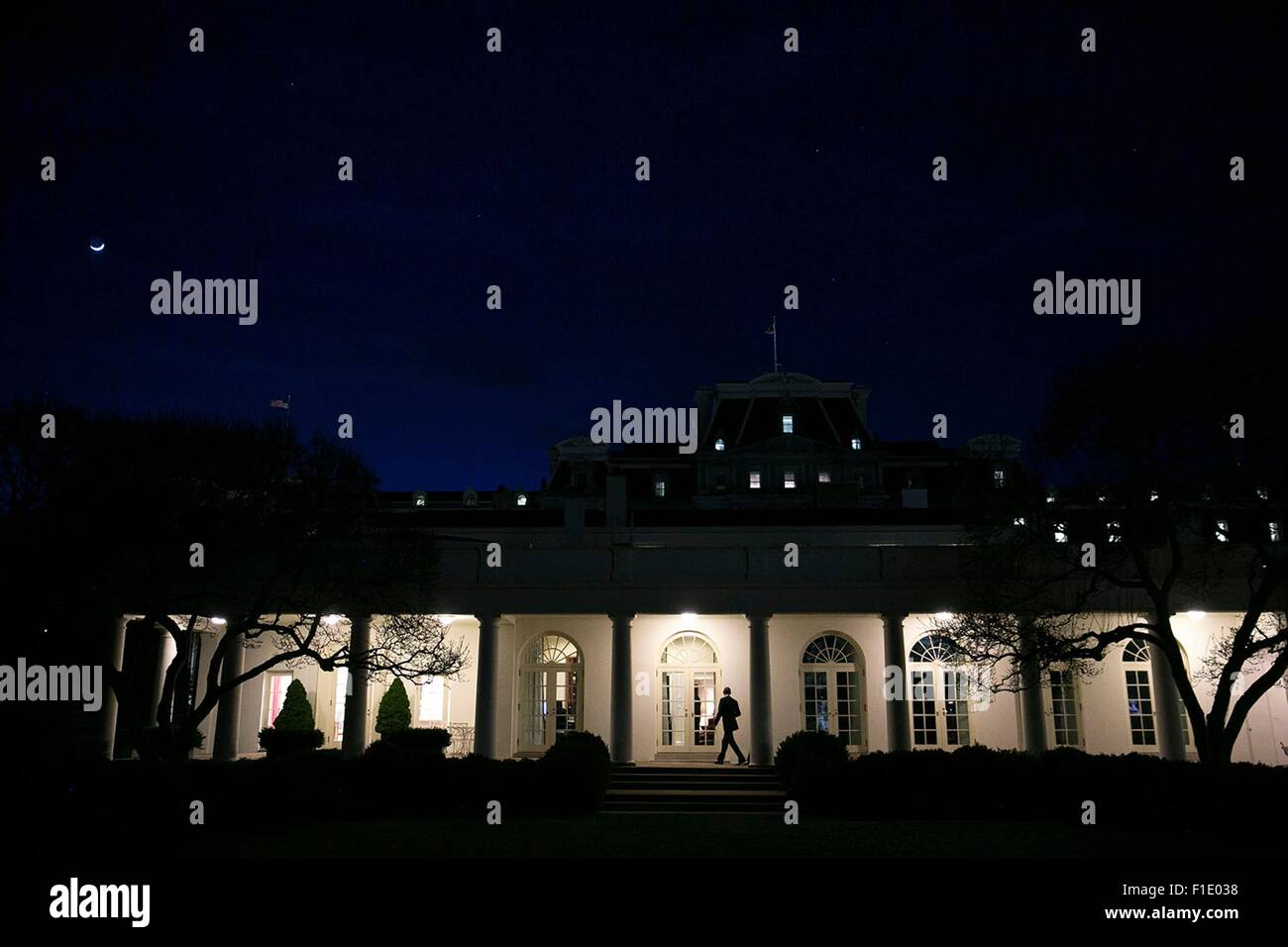 where is the oval office. U.S. President Barack Obama Walks Along The Colonnade To Oval Office Of White House Late Night January 22, 2015 In Washington, DC. Where Is