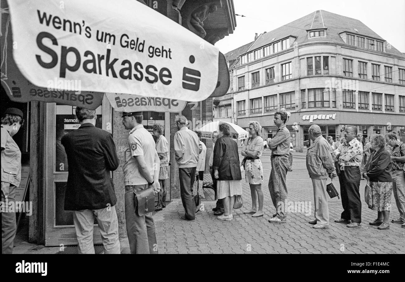 Introduction of the West-D-Mark in East Germany short before the reunification, of east and west Germany, cash exchanges, - Stock Image