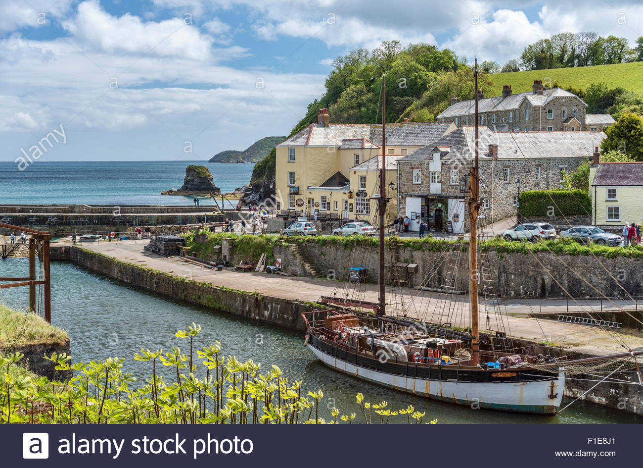 View over the harbour of Charlestown, Cornwall coast, England | Aussicht ueber den Hafen von Charlestown, Cornwall, - Stock Image