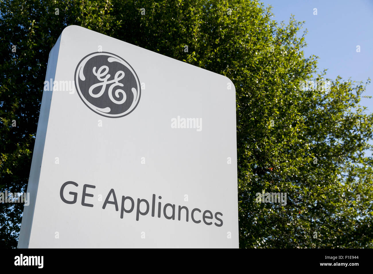 A logo sign outside of the General Electric (GE) Appliance Park manufacturing facility in Louisville, Kentucky on - Stock Image