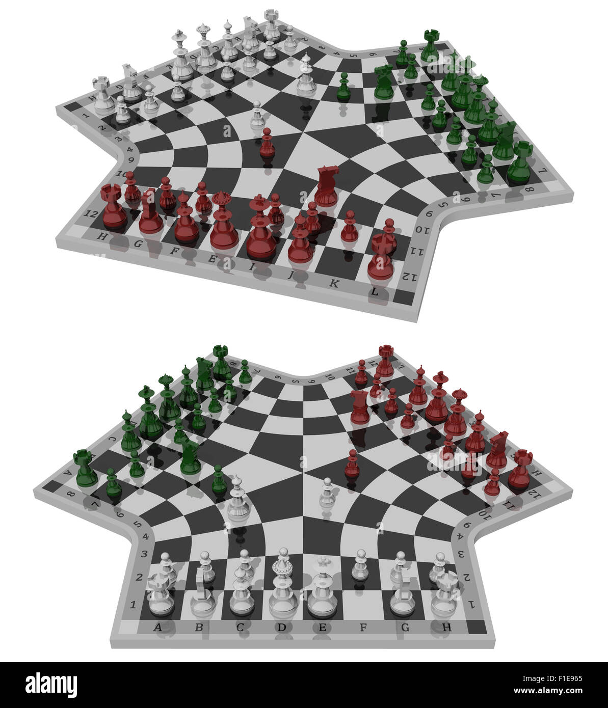 Three-handed chess, two views - Stock Image