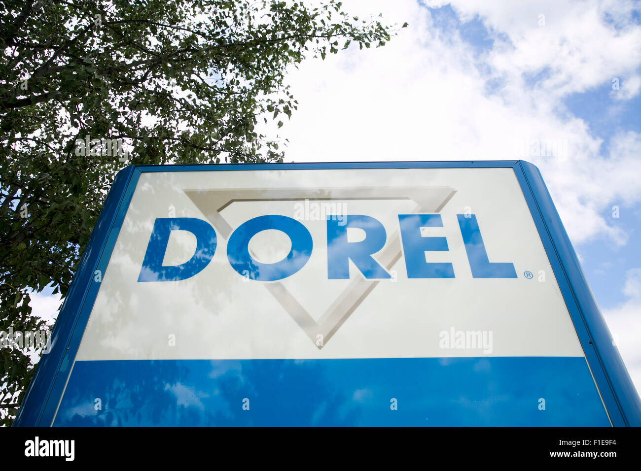 A logo sign outside of a facility occupied by Dorel Industries Inc., in Columbus, Indiana on August 25, 2015. - Stock Image