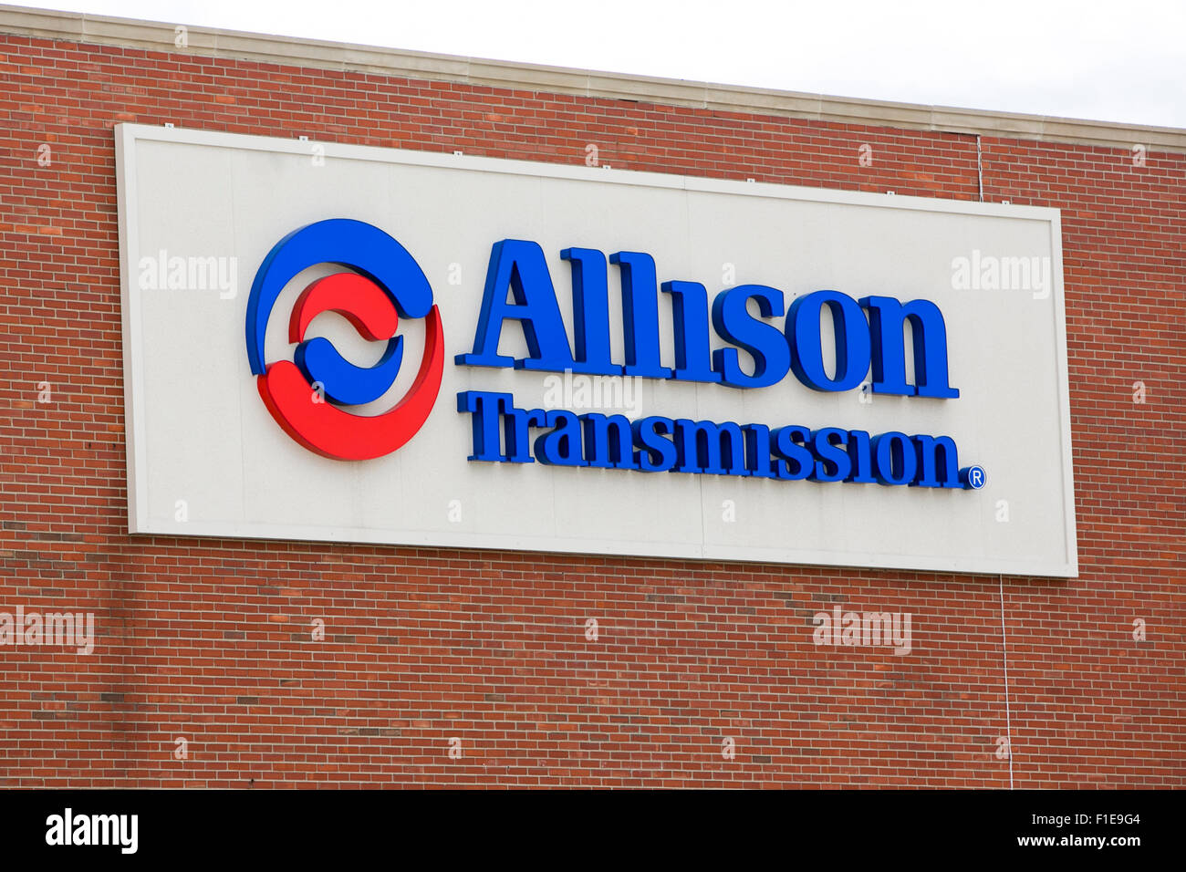 A logo sign outside of the headquarters of Allison Transmission in Indianapolis, Indiana on August 25, 2015. - Stock Image