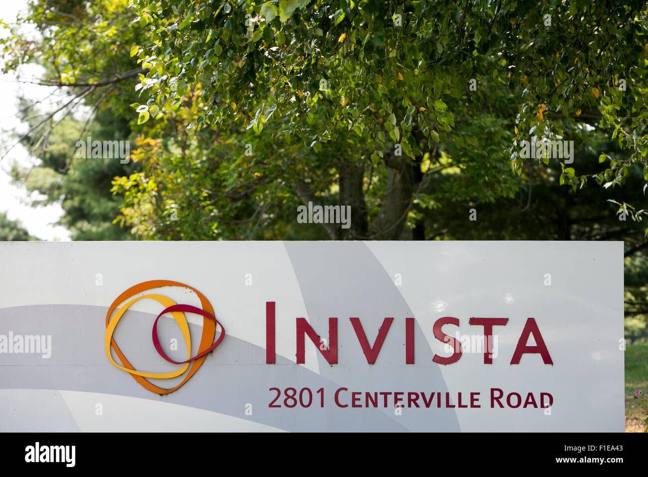 A logo sign outside of a facility occupied by Invista, a subsidiary of Koch Industries, in Wilmington, Delaware - Stock Image