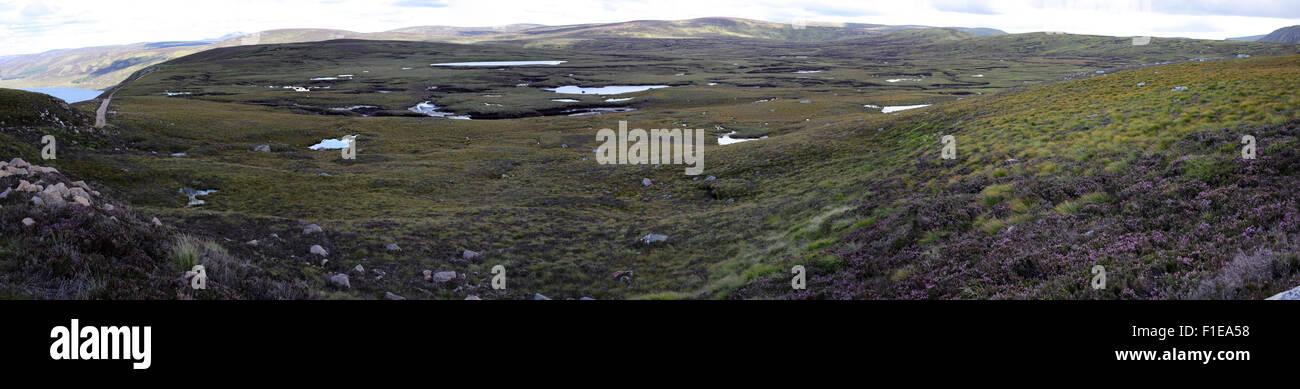 moorland south of lock muick panoramic view white mounth munros