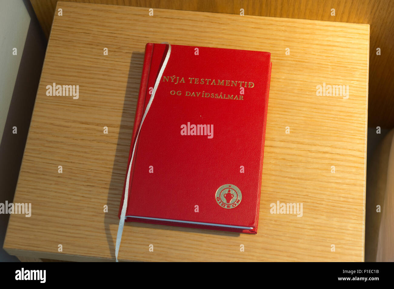 An Icelandic version of a Gideon's Bible in a hotel room in Egilsstadir, Iceland - Stock Image