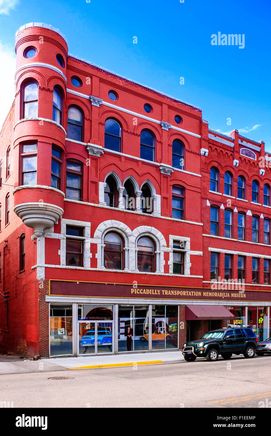 The Piccadilly Transport Memorabilia Museum building on W. Broadway St in Butte Montana - Stock Image