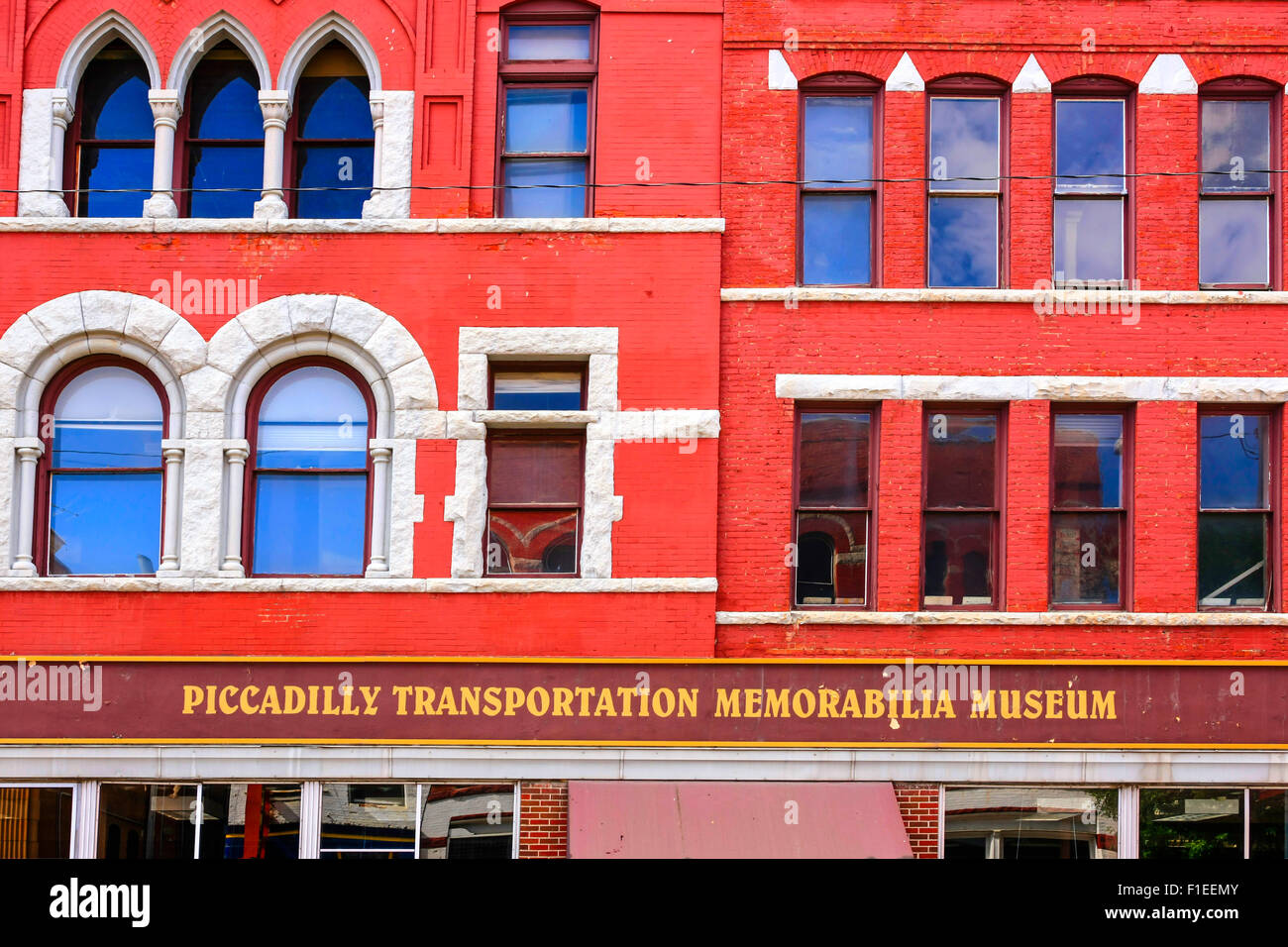 The Piccadilly Transport Memorabilia Museum building on W. Broadway St in Butte Montan - Stock Image