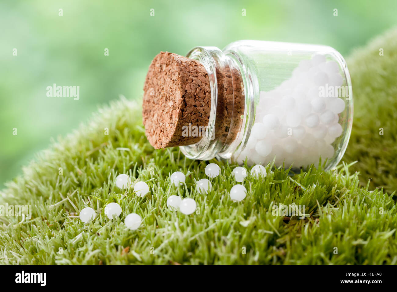 Bottle of homeopathy globules on green moss - Stock Image