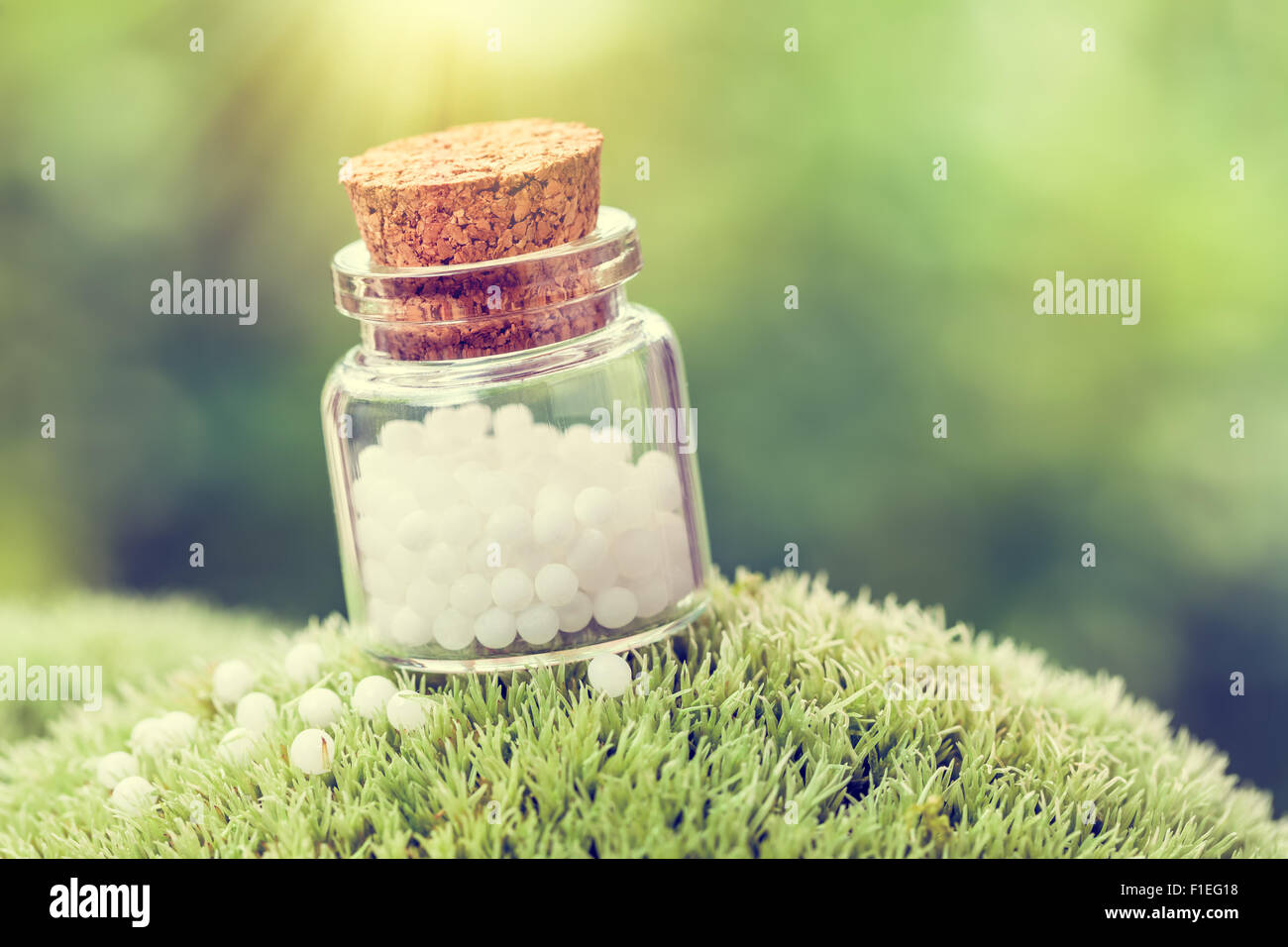 Bottle of white homeopathy globules on green moss. Retro styled. - Stock Image