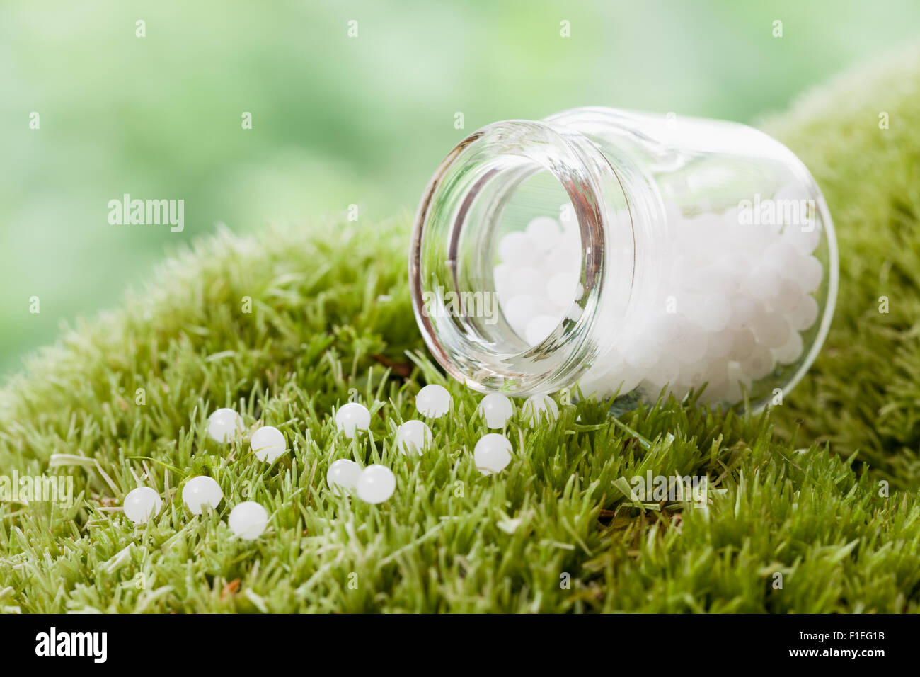 Bottle of homeopathy globules on green moss. Selective focus. - Stock Image