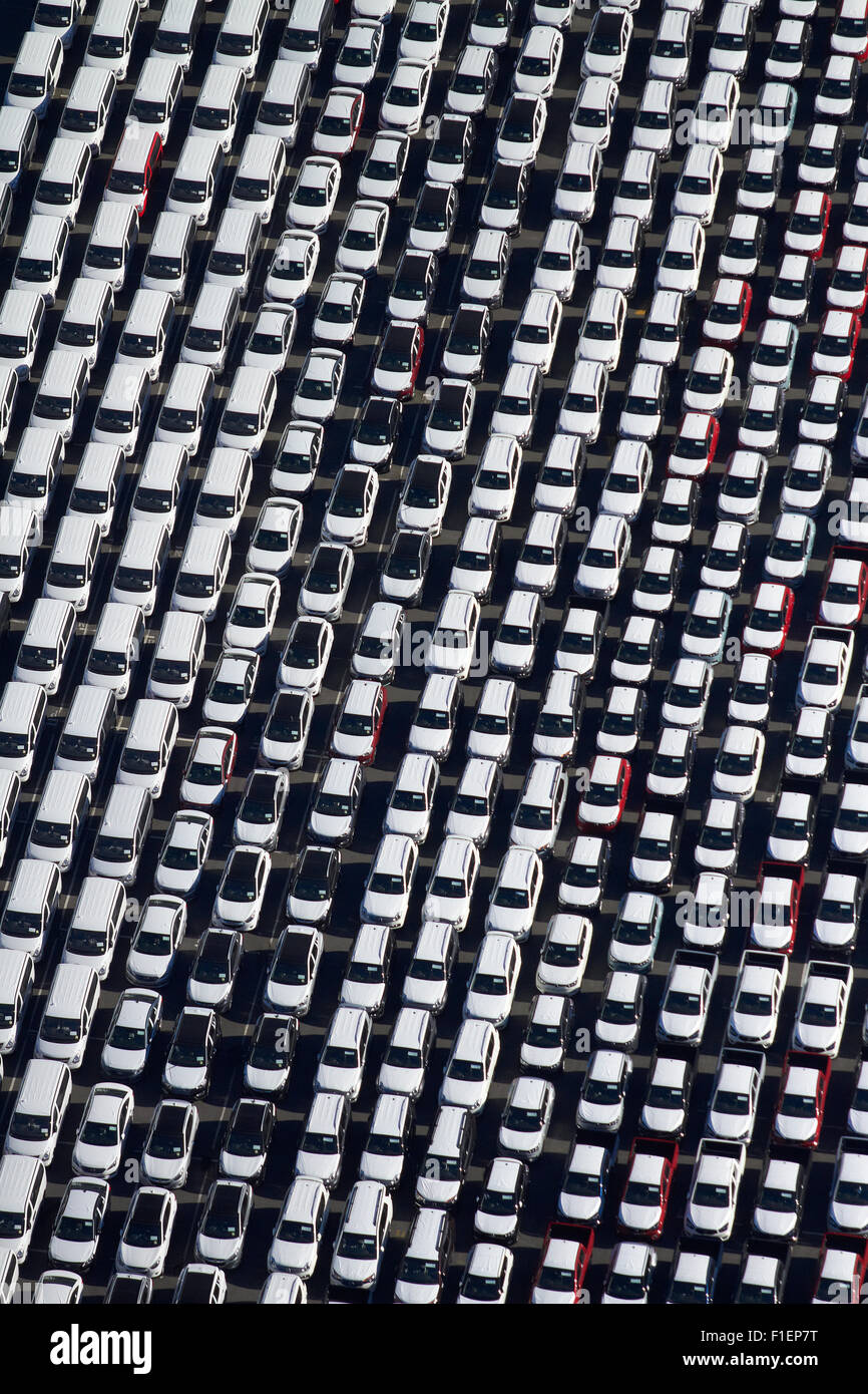 Newly imported vehicles at Ports of Auckland, Auckland, North Island, New Zealand - aerial - Stock Image