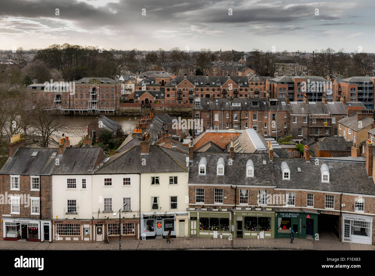 View from top of Cliffords Tower, York: Tower Street - Stock Image