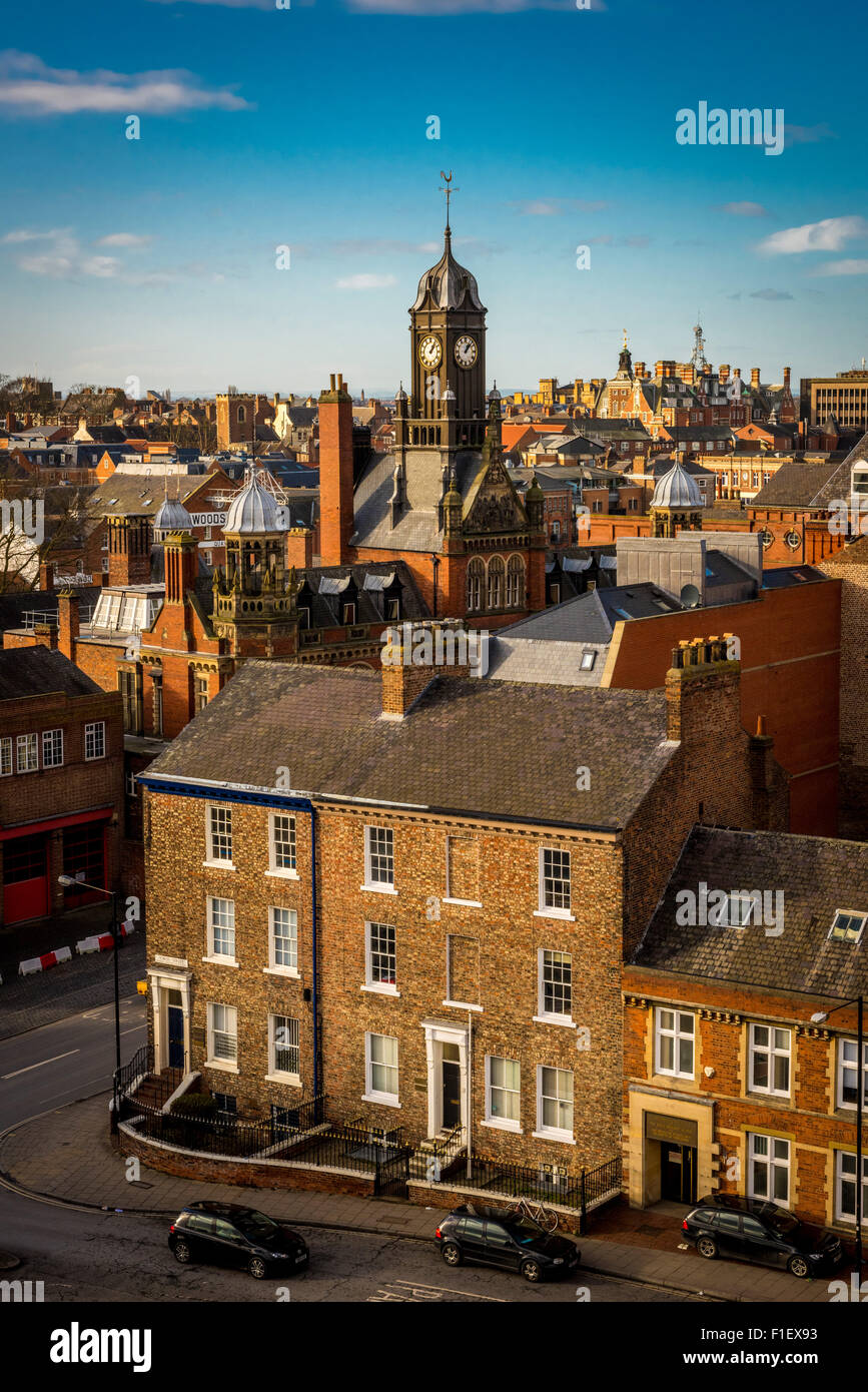 View from top of Cliffords Tower, York: City skyline and clock tower at Magistrate's court - Stock Image