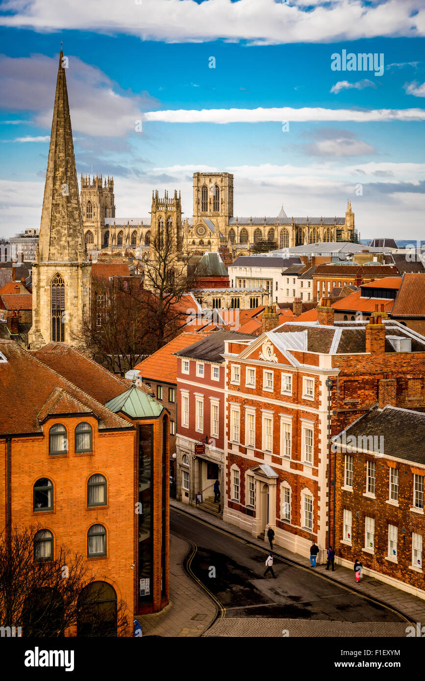 View from top of Cliffords Tower, York: York minster and city skyline - Stock Image