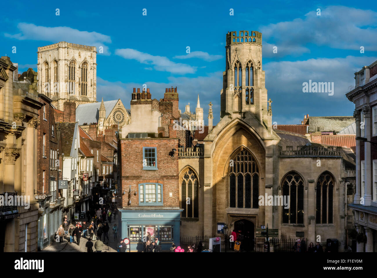 View of St Helen's Square and York Minster from The Mansion House, York. Lord Mayor's residence. - Stock Image