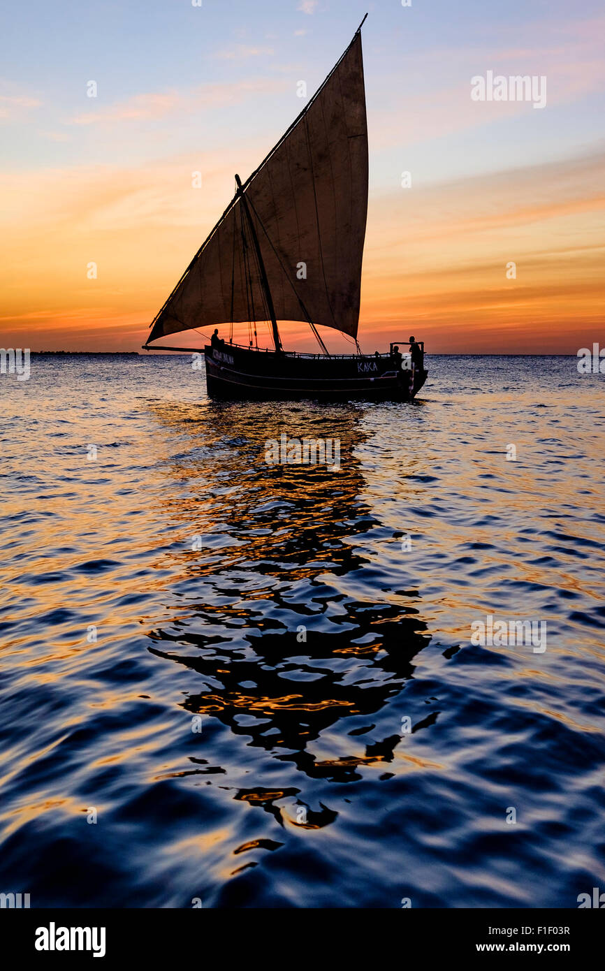 Arab Dhow Zanzibar Tanzania sunset Africa - Stock Image