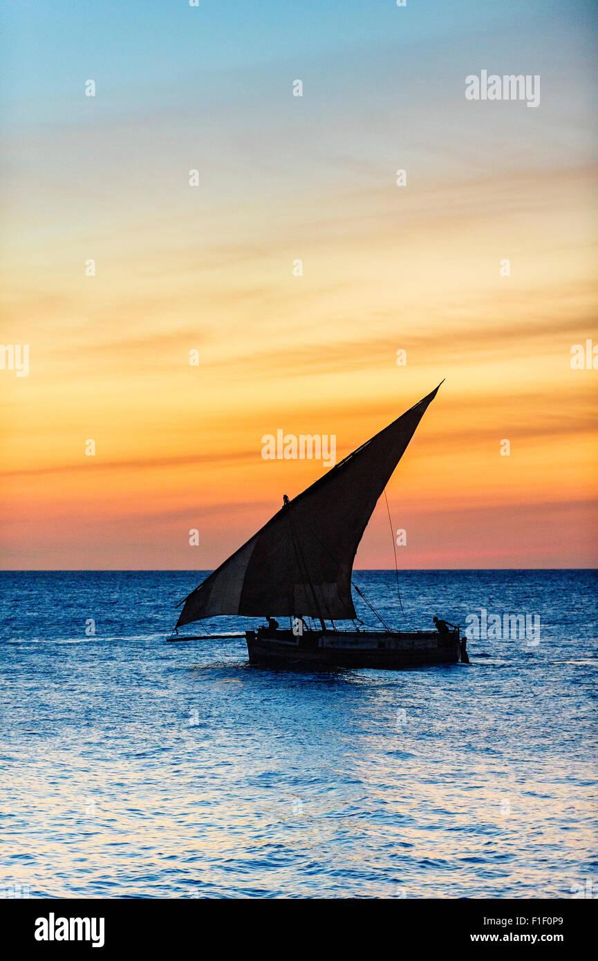 Arab Dhow Zanzibar Tanzania at sunset - Stock Image