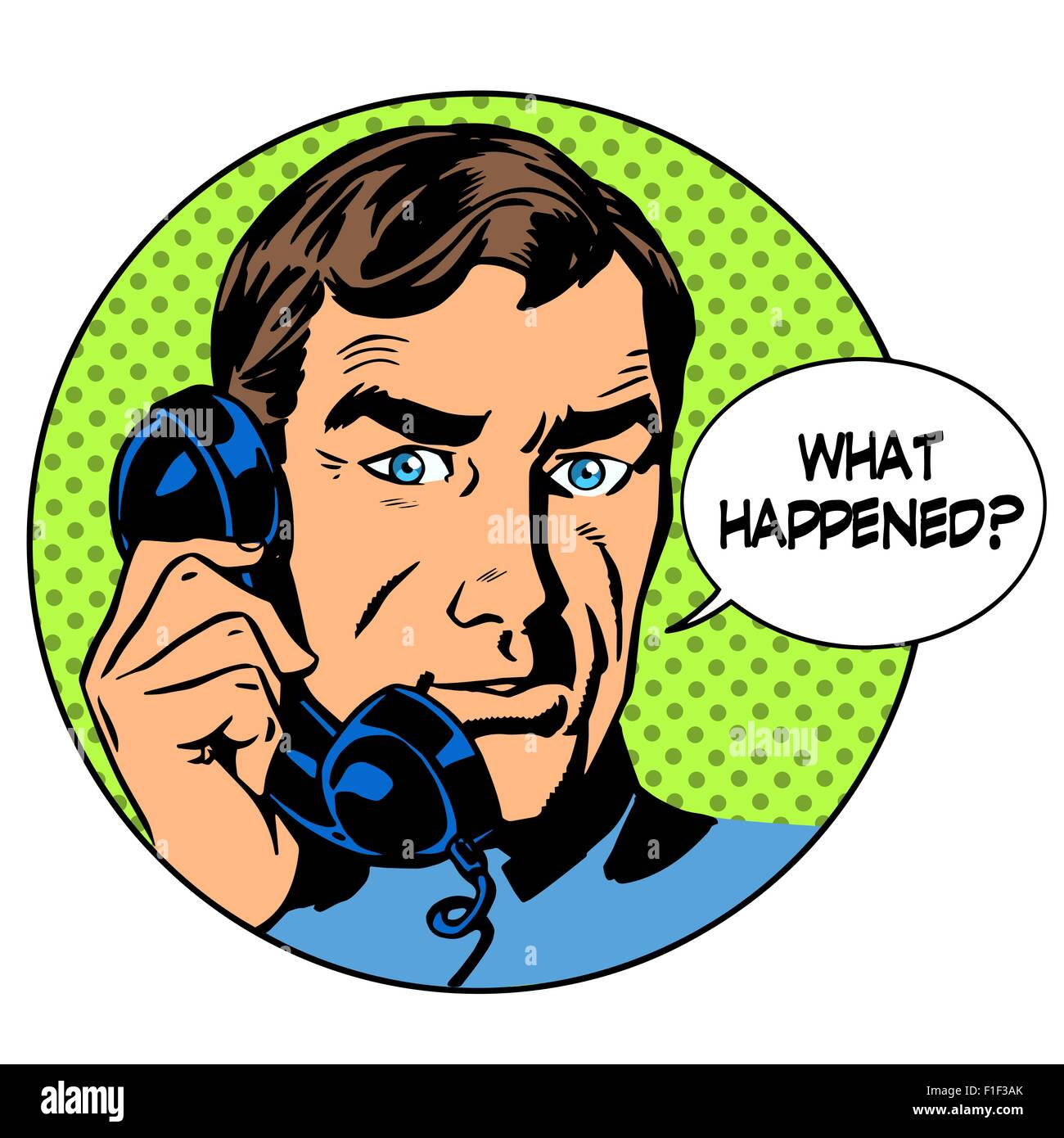 What happened man phone question online support business concept - Stock Vector