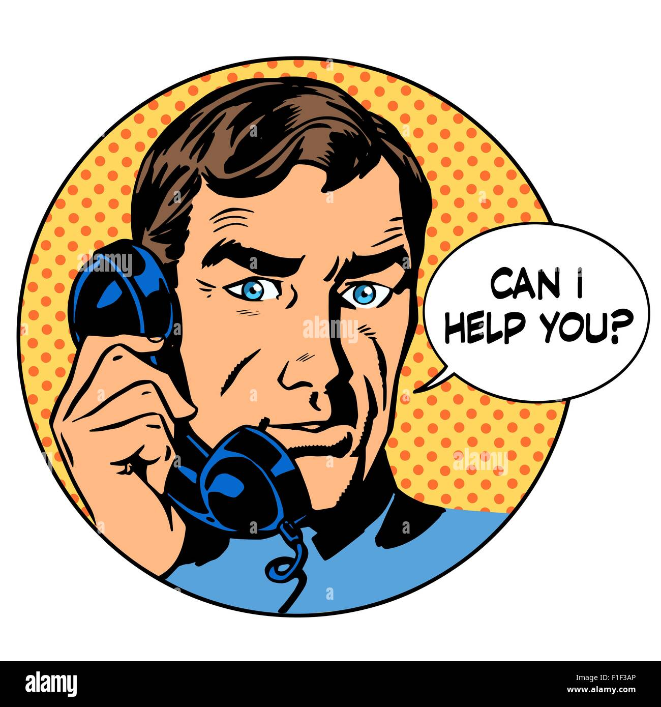 Can i help you man phone question online support business concep - Stock Vector