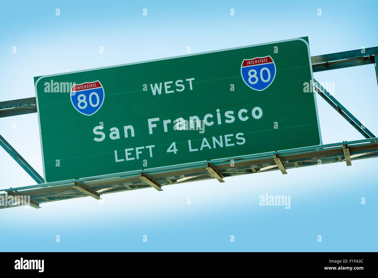 San Francisco Interstate 80 Highway Sign Closeup. American Interstates System. - Stock Image