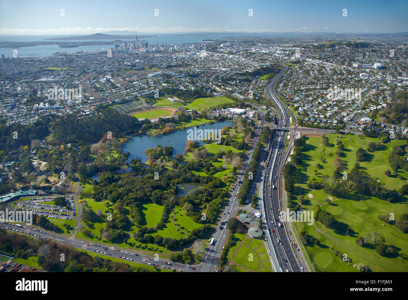 Auckland Zoo, Western Springs, North-Western Motorway, and Chamberlain Park Golf Course, Auckland, North Is, New Stock Photo