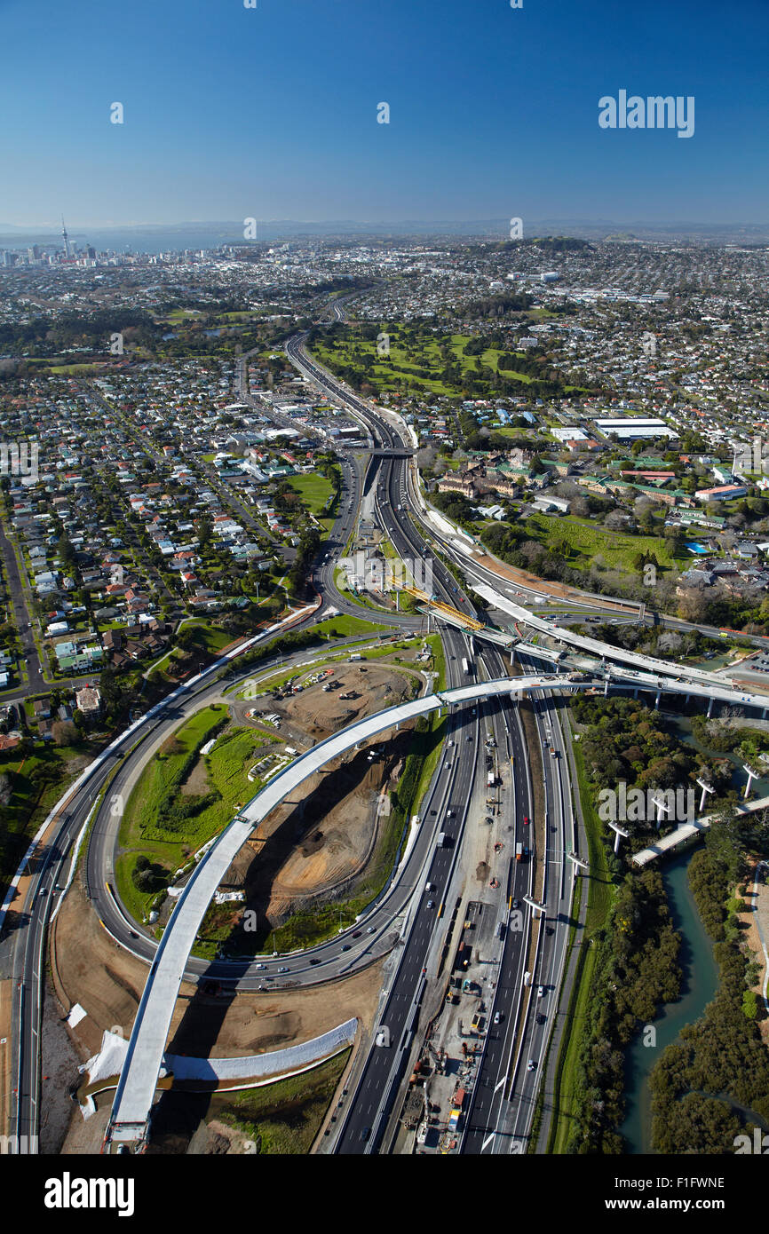 North-Western Motorway and construction of Waterview Connection, Auckland, North Island, New Zealand - aerial - Stock Image
