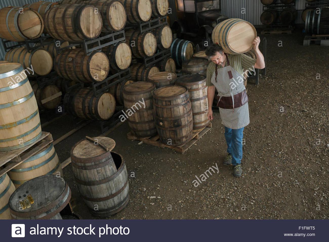 Worker carrying oak barrel in distillery cellar - Stock Image