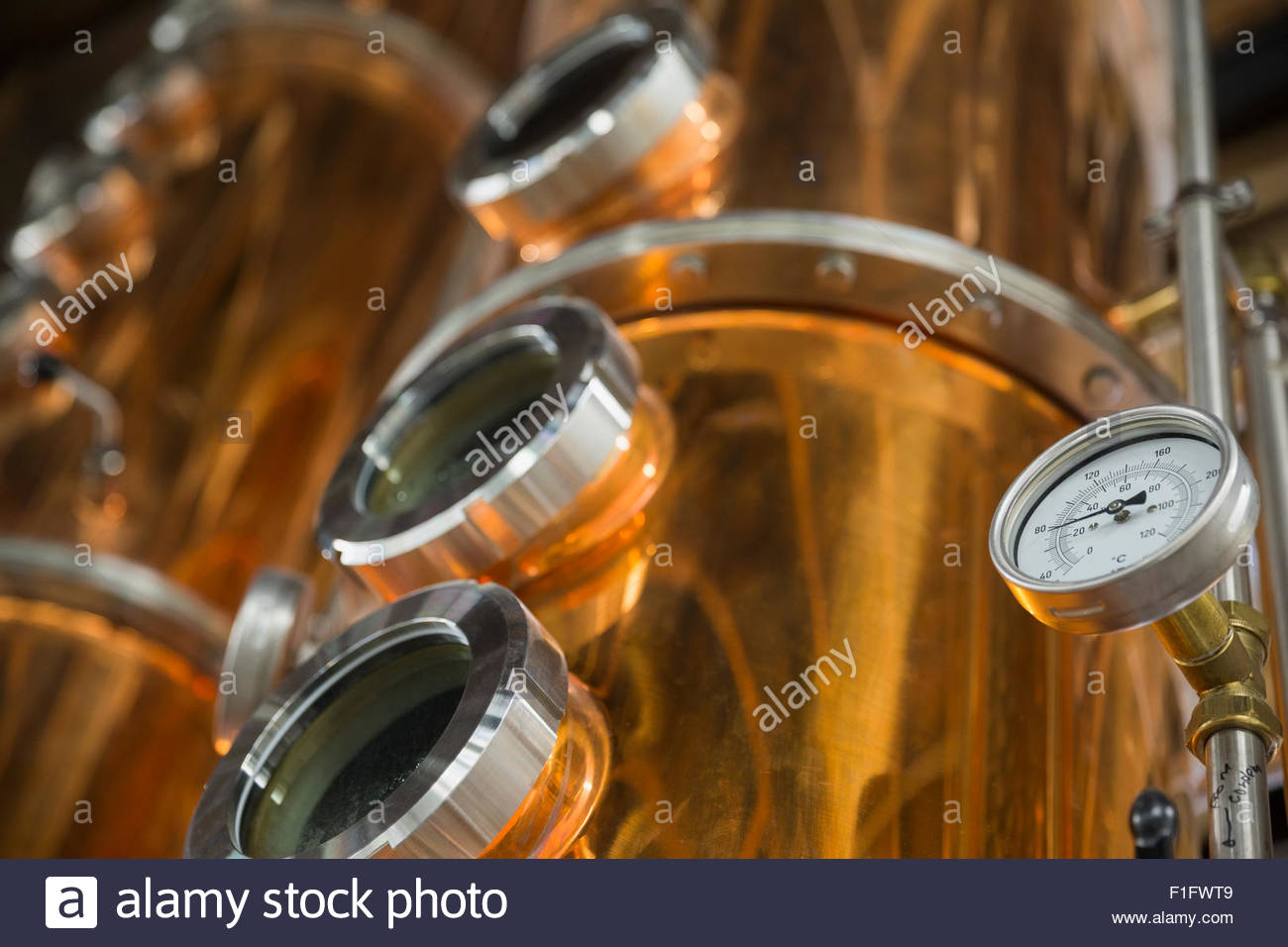 Gauge on copper distillery vat - Stock Image